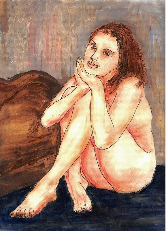 Nude Art Print featuring the mixed media Nude Maria's Little Sister by Randy Sprout