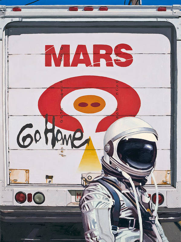 Astronaut Art Print featuring the painting Mars Go Home by Scott Listfield