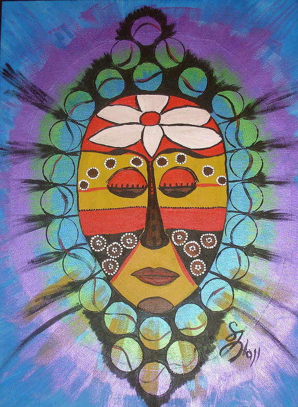 Mask Art Print featuring the painting Mask III by Sheila J Hall
