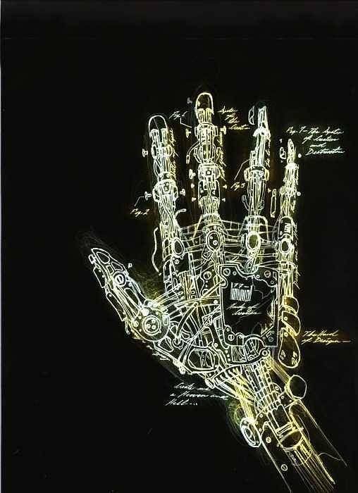 Ralph Nixon Jr. Paintings Art Print featuring the drawing Mechanical Hand by Ralph Nixon Jr
