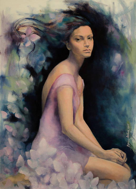 Butterflies Art Print featuring the painting Melancholy Butterflies by Dorina Costras