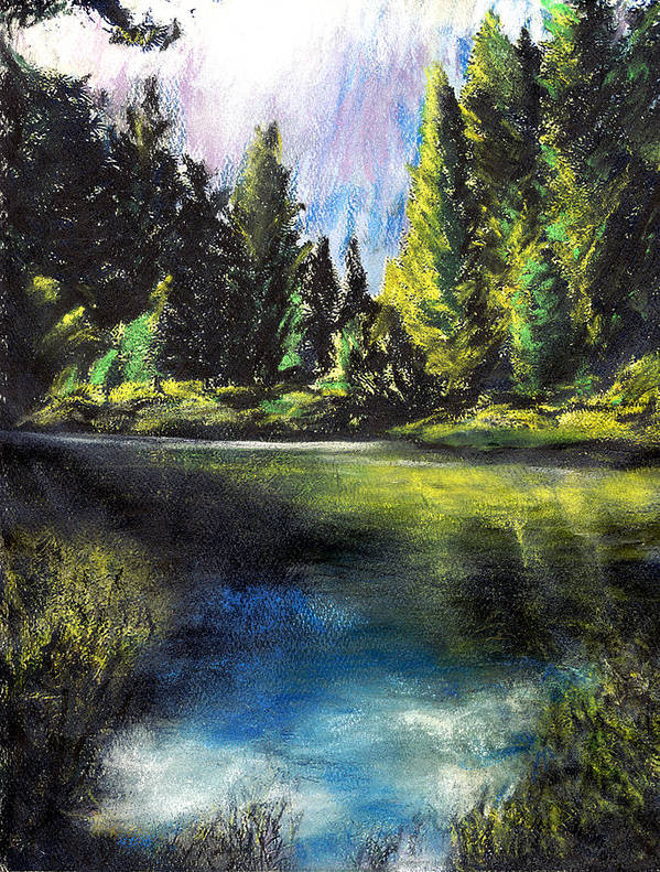 California Art Print featuring the pastel Merced River Bank by Randy Sprout