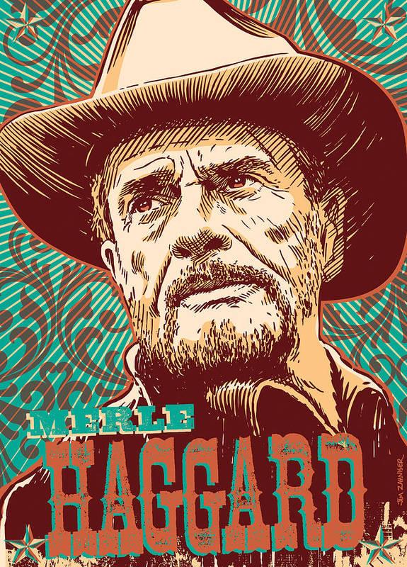 Canvas Merle Haggard in Concert Art Print Poster