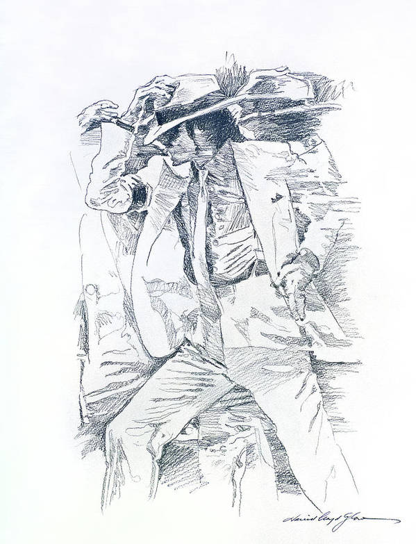 Michael Jackson Art Print featuring the drawing Michael Smooth Criminal II by David Lloyd Glover