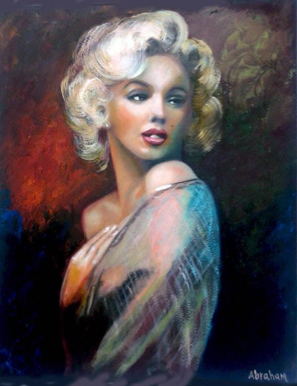 Monroe. Women. Art Print featuring the painting M.Monroe by Jose Manuel Abraham