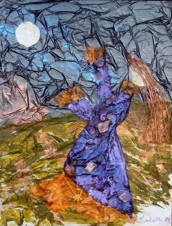 Worship Art Print featuring the mixed media Moonlight by Lisabeth Billingsley