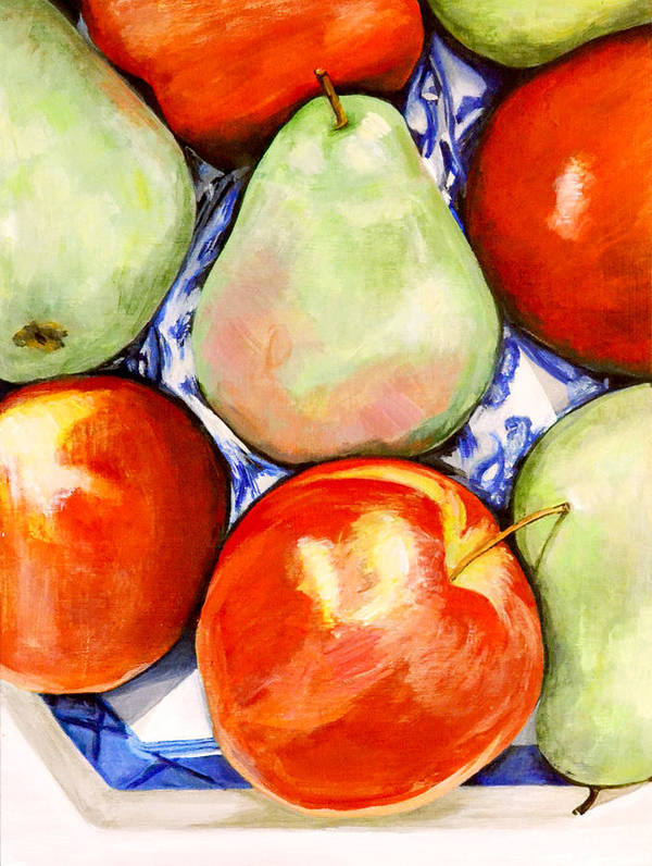 Apples Art Print featuring the painting Morning Pears and Apples by Mary Chant