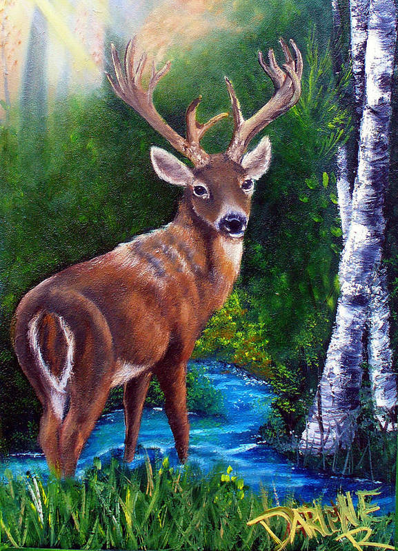 Deer Art Print featuring the painting Morning Walk by Darlene Green