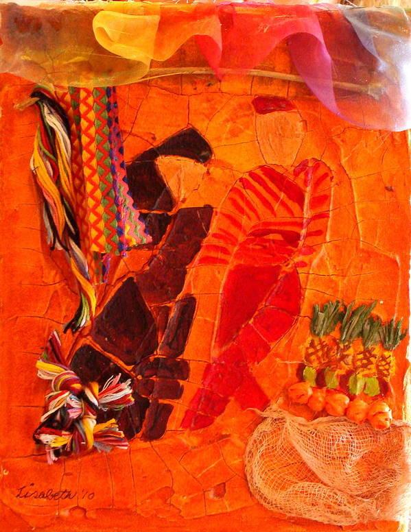 Bazaar Art Print featuring the mixed media Moroccan Bazaar by Lisabeth Billingsley