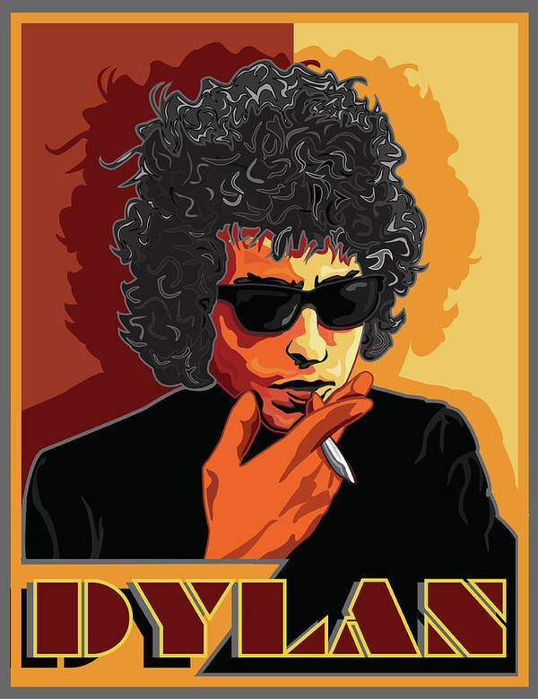 Bob Dylan Art Print featuring the digital art Bob Dylan American Music Legend by Larry Butterworth