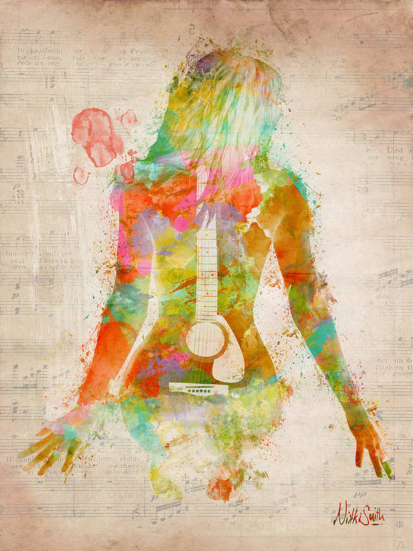 Guitar Art Print featuring the digital art Music Was My First Love by Nikki Marie Smith