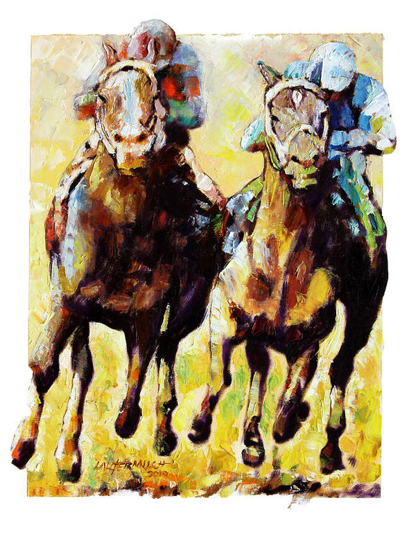 Horse Race Art Print featuring the painting Neck and Neck by John Lautermilch