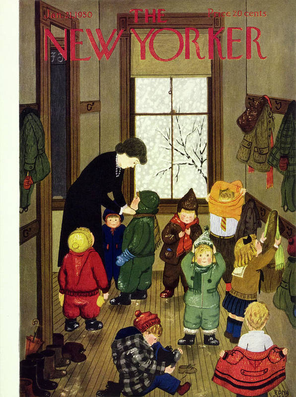 Teacher Art Print featuring the painting New Yorker January 21 1950 by Edna Eicke
