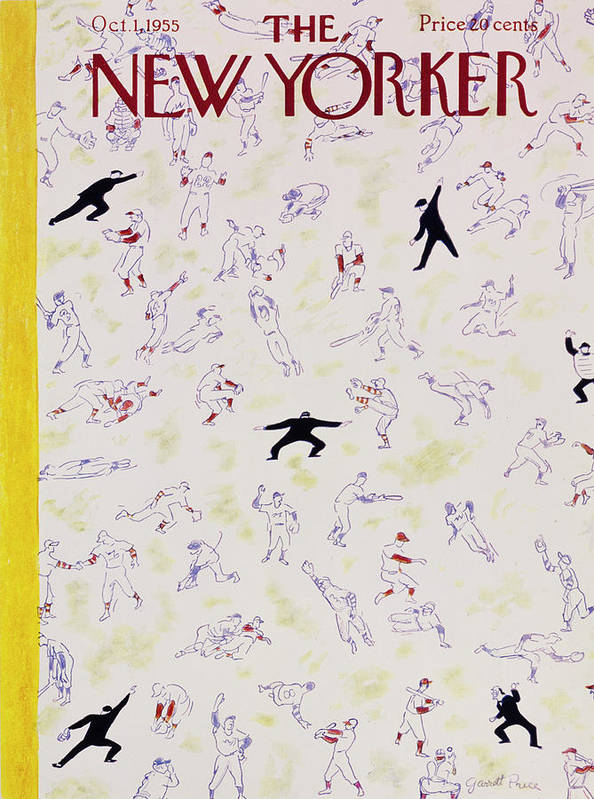 Baseball Art Print featuring the painting New Yorker October 1 1955 by Garrett Price