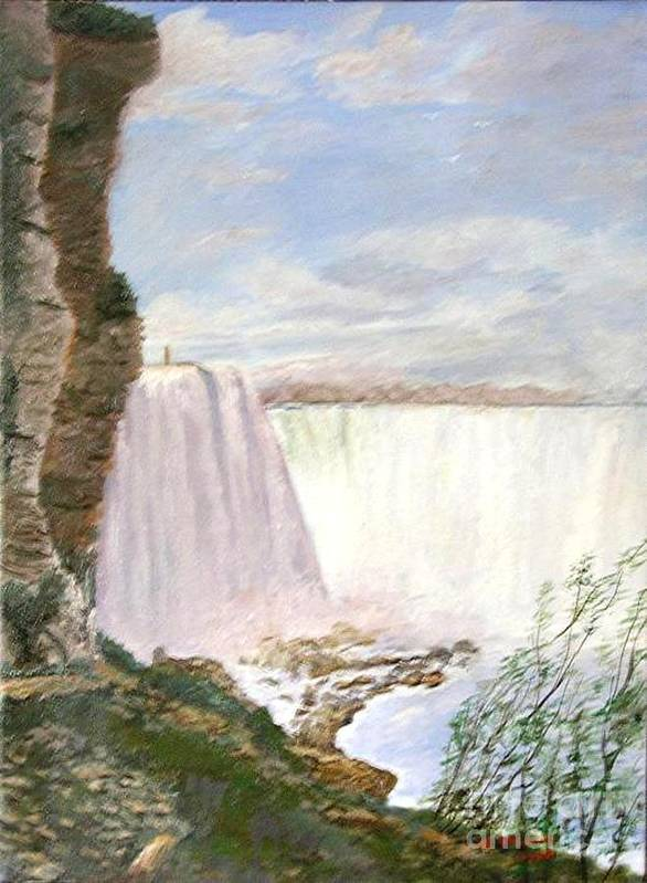 Landscape Painting Niagra Falls Art Print featuring the painting Niagara Falls by Nicholas Minniti