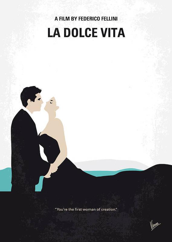 La Art Print featuring the digital art No529 My La dolce vita minimal movie poster by Chungkong Art