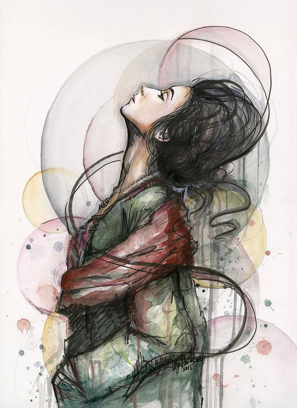 Watercolor Art Print featuring the painting Beautiful Lady by Olga Shvartsur