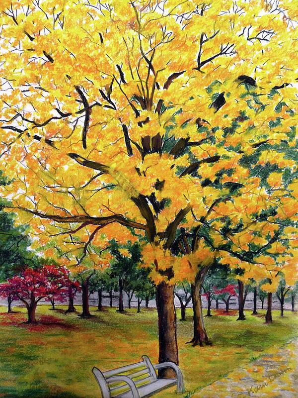 Yellow Poui Art Print featuring the pastel North Savannah Poui by Karin Dawn Kelshall- Best