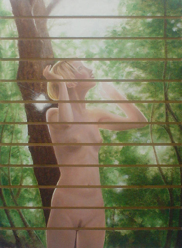 Realistic Art Print featuring the painting Nude forest by Angel Ortiz