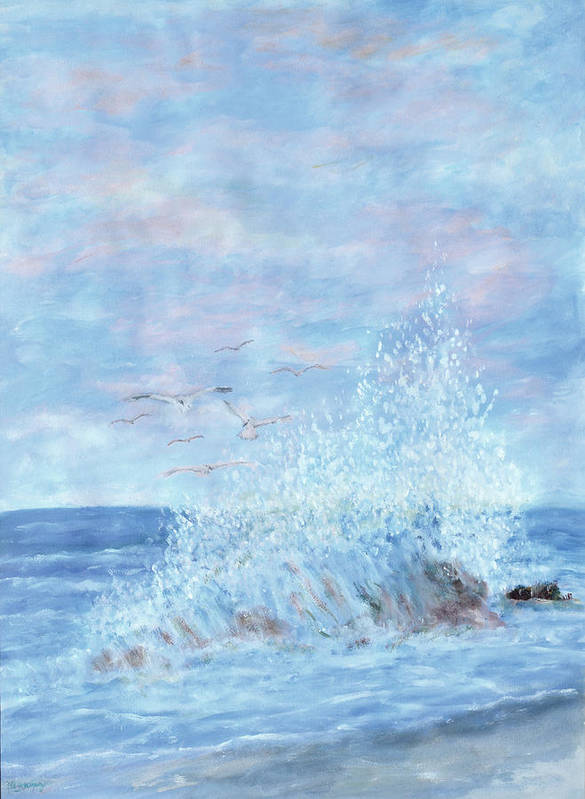 Gulls Art Print featuring the painting Ocean Spray by Ben Kiger