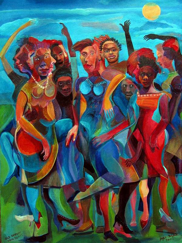 Figures Art Print featuring the painting Old Rhythms New Beats by Joyce Owens