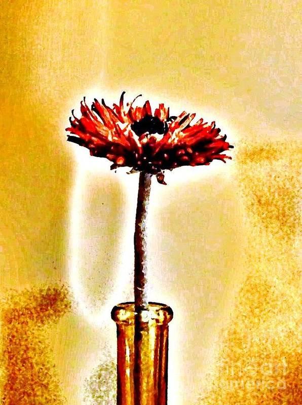 Photo Art Print featuring the photograph Orange Wooden Flower by Marsha Heiken