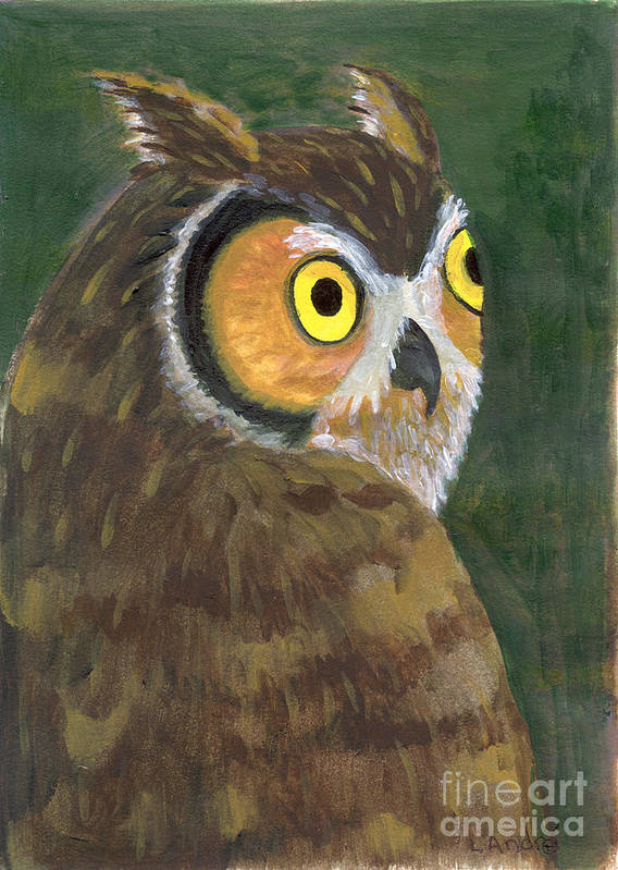 Owl Art Print featuring the painting Owl 2009 by Lilibeth Andre