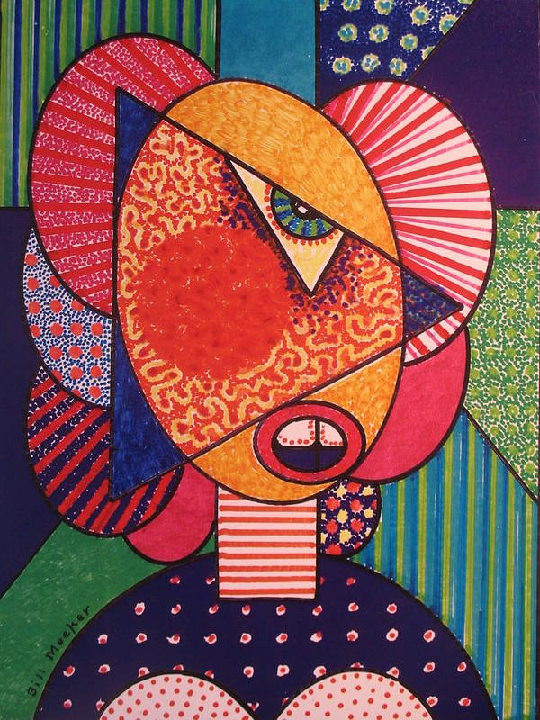 Cubissm Art Print featuring the painting Painted Woman by Bill Meeker