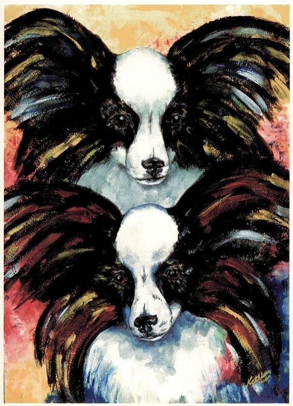 Papillon Art Print featuring the painting Papillon De Mardi Gras by Kathleen Sepulveda