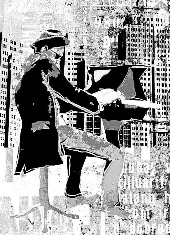 Digital Image Art Print featuring the digital art Piano Man by Regina Wyatt