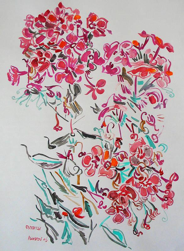 Phlox Art Print featuring the painting Pink Phloxes by Vitali Komarov