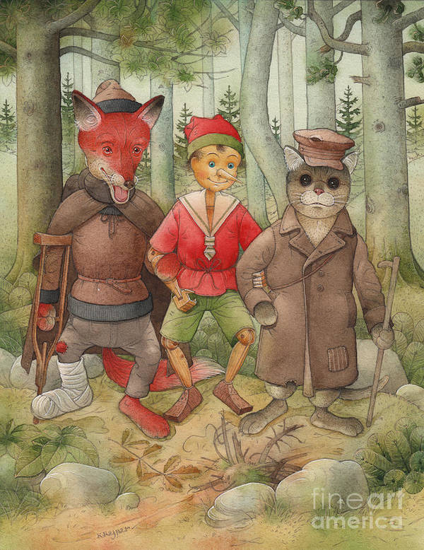 Cat Fox Forest Landscape Green Red Art Print featuring the painting Pinocchio01 by Kestutis Kasparavicius