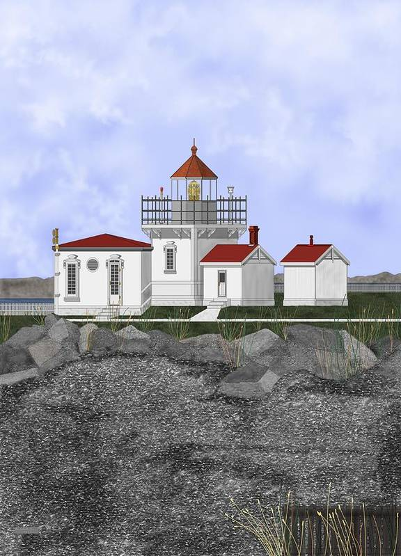 Lighthouse Art Print featuring the painting Point No Point Lighthouse by Anne Norskog
