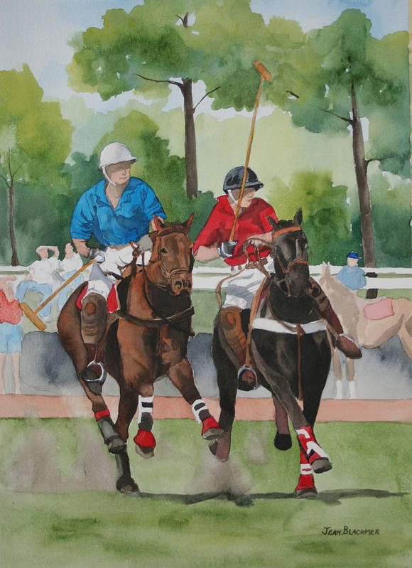 Polo Art Print featuring the painting Polo In The Afternoon 2 by Jean Blackmer