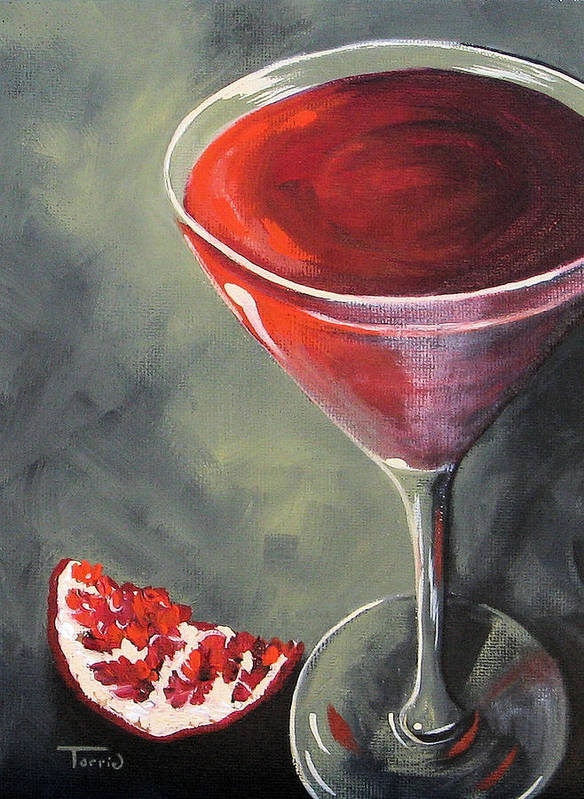 Martini Art Print featuring the painting Pomegranate Martini by Torrie Smiley
