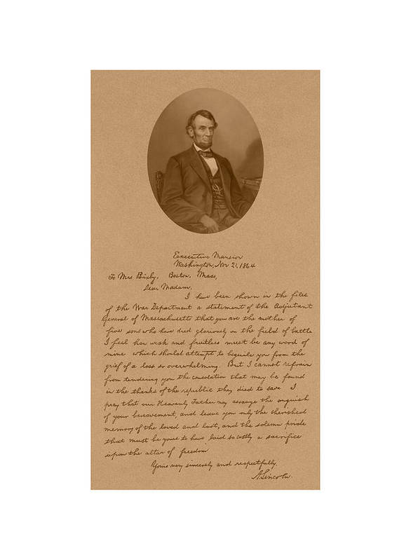 Bixby Letter Art Print featuring the mixed media President Lincoln's Letter To Mrs. Bixby by War Is Hell Store