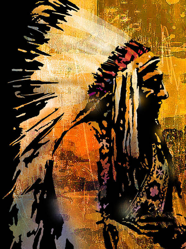 Native American Art Print featuring the painting Profile of Pride by Paul Sachtleben