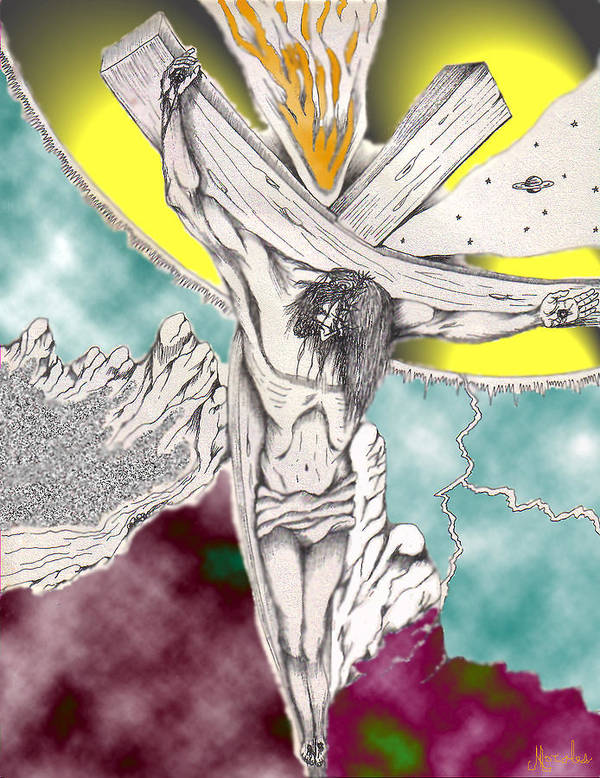Spiritual Art Print featuring the digital art Psalm 22 Ch 13-15... by Marco Morales