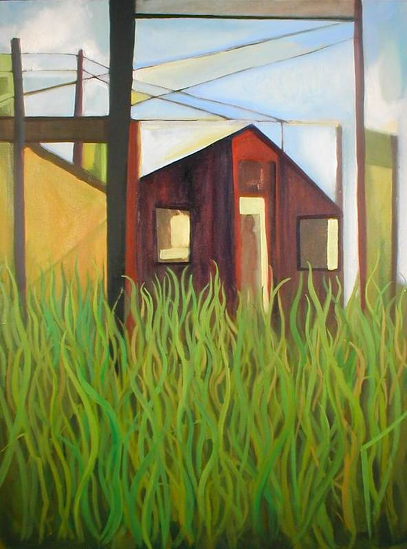 Abstract Art Print featuring the painting Purple House in a Green Field by Ron Erickson