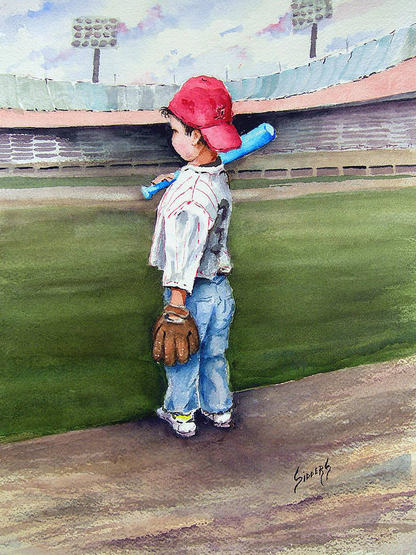 Baseball Art Print featuring the painting Put Me In Coach by Sam Sidders