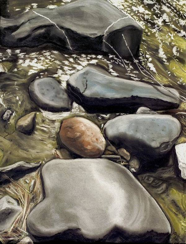 River Rock Art Print featuring the painting River Rock Formations by Brenda Williams