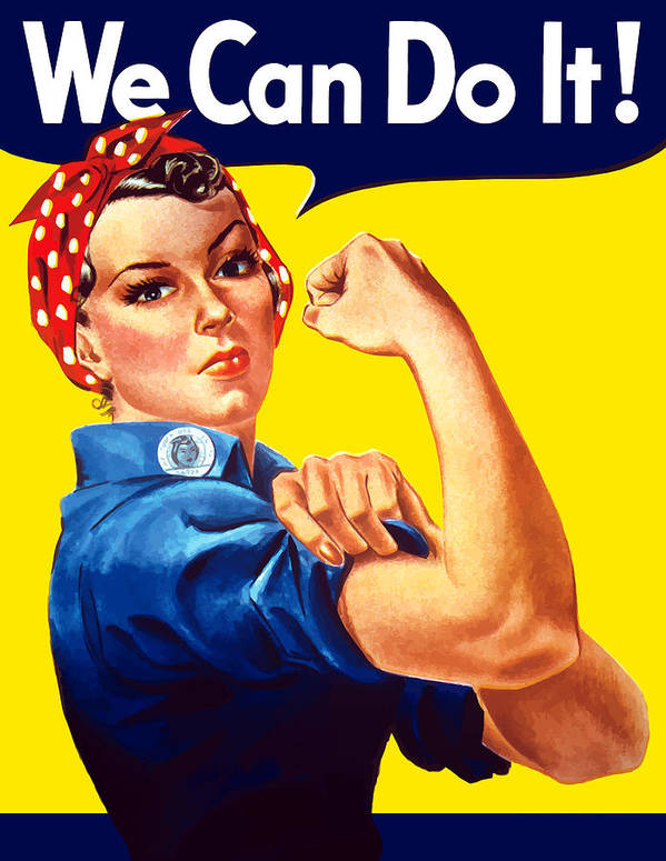 Rosie The Riveter Art Print featuring the painting Rosie The Rivetor by War Is Hell Store