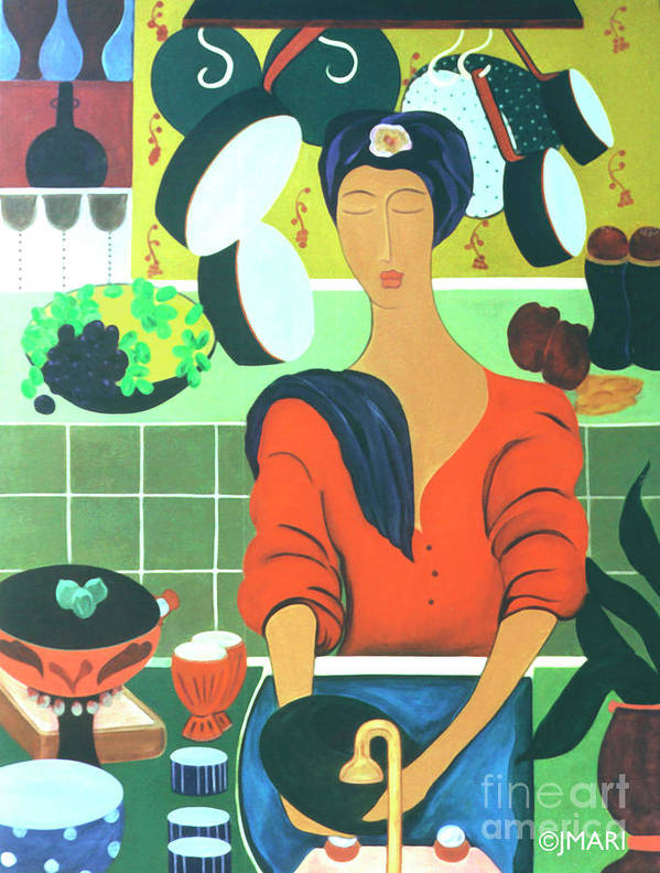 #kitchen Art Print featuring the painting Sally by Jacquelinemari