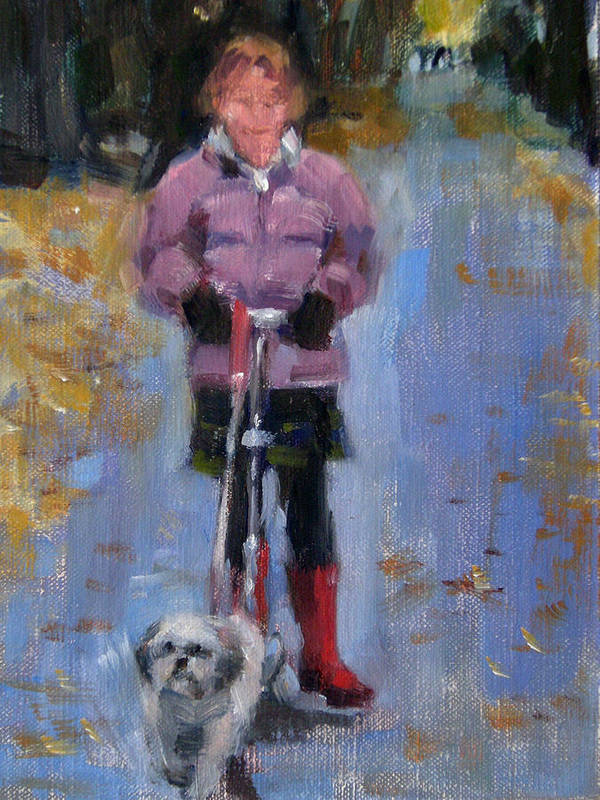 Child Art Print featuring the painting Scooting Down the Street by Merle Keller