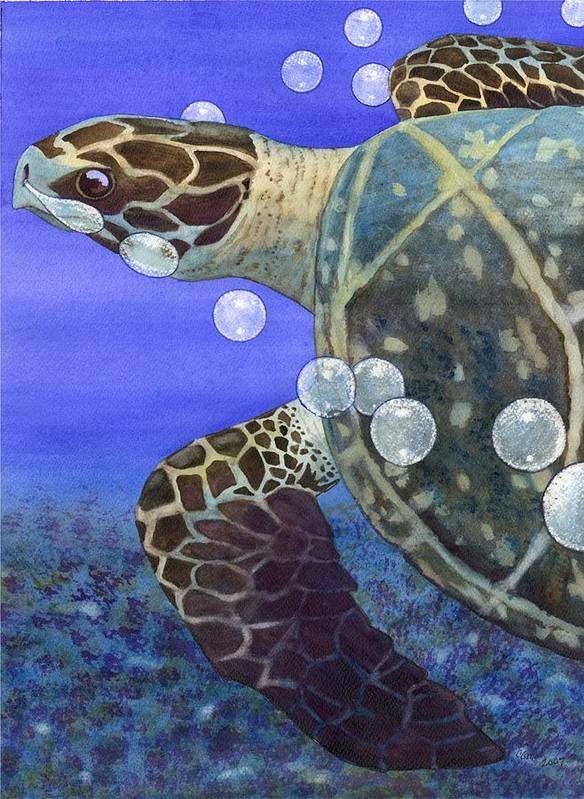 Turtle Art Print featuring the painting Sea Turtle by Catherine G McElroy