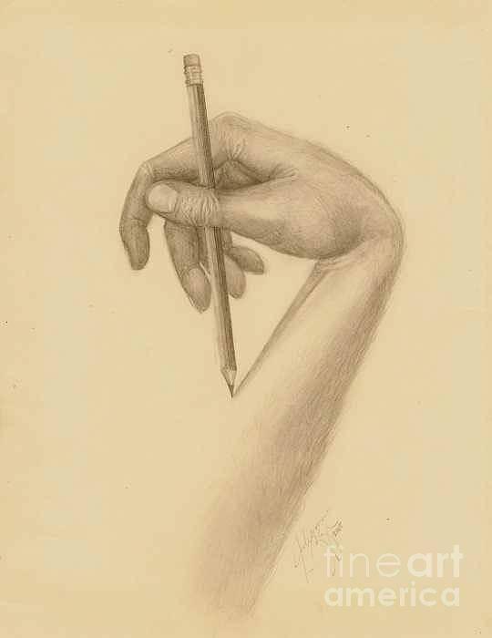 Hand Art Print featuring the drawing Self Portrait by Julianna Ziegler