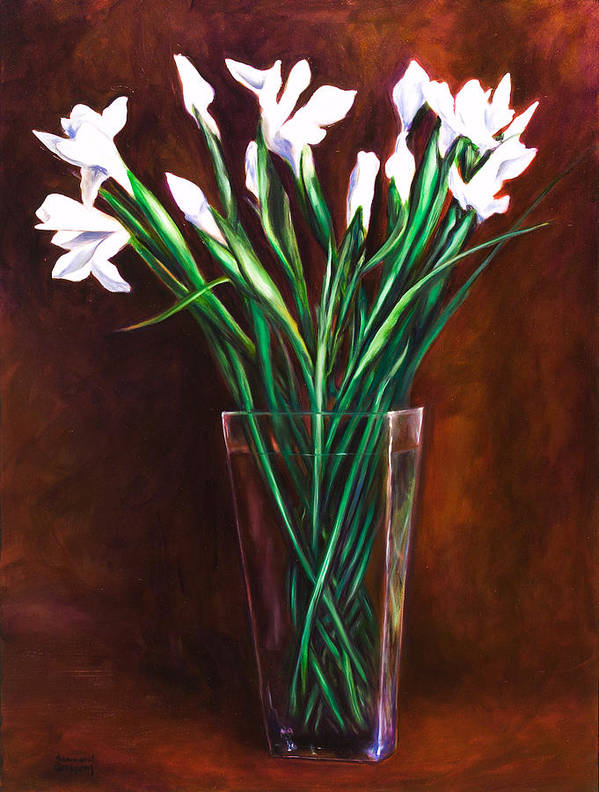 Iris Art Print featuring the painting Simply Iris by Shannon Grissom