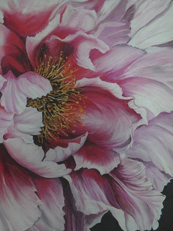 Pink Peony Art Print featuring the painting Single Peony by Karin Dawn Kelshall- Best