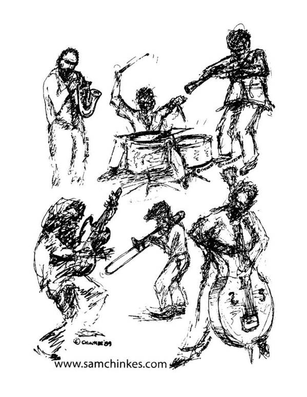 Jazz Musicians Art Print featuring the drawing Six Musicians by Sam Chinkes