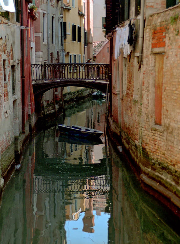Art Print featuring the photograph Small Boat on Canal in Venice for Vrooman by Michael Henderson